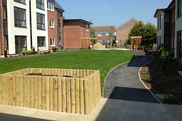 Communal outdoor area at one of our extra care homes
